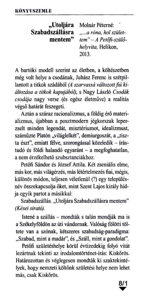A Magyar Naplóban megjelent cikk, mely Petőfi szülőhelyvitájáról íródott